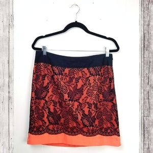 THE LIMITED Neon Black Lace Skirt